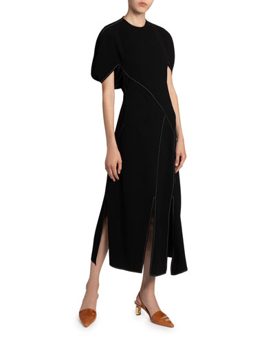 Lucinda Split Crewneck Long Dress