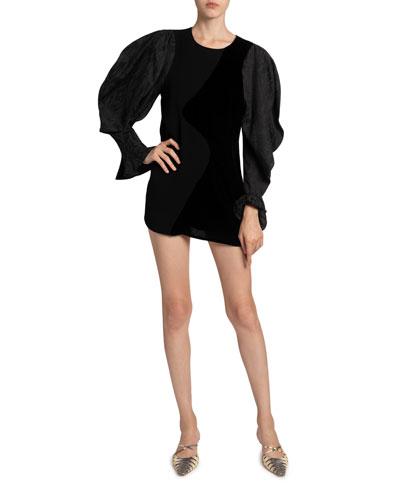 Cynthia Puff-Sleeve Silk Cocktail Dress