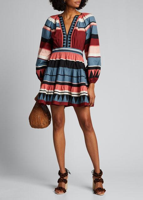Mika Striped Blouson-Sleeve Dress