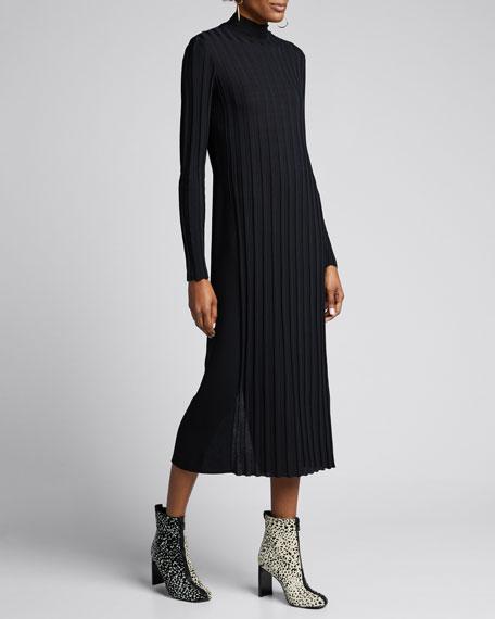 Mixed Rib Long-Sleeve Midi Turtleneck Dress