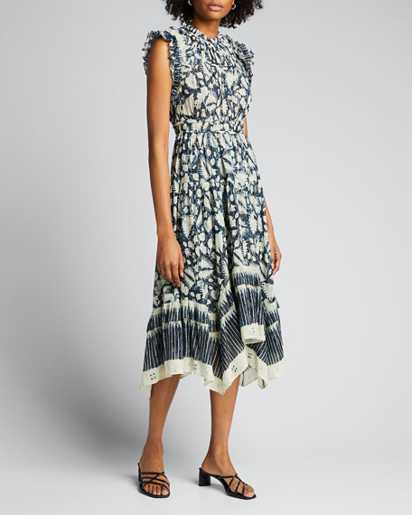 Amalia Batik-Print Sleeveless Midi Dress