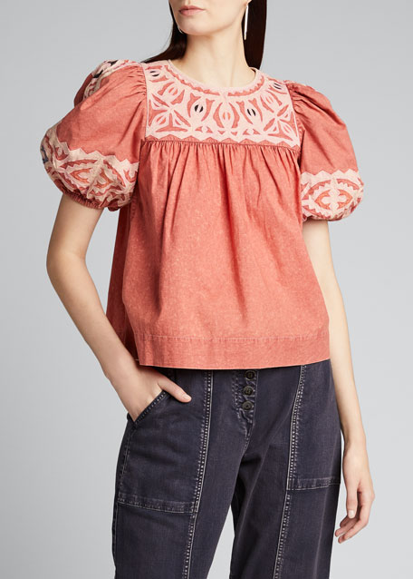 Aleida Embroidered Puff-Sleeve Cotton Top