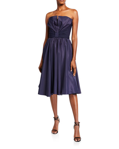 Taffeta Bustier Full-Skirt Cocktail Dress