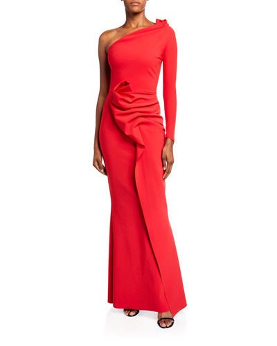Asymmetric One-Sleeve Shirred Skirt Gown