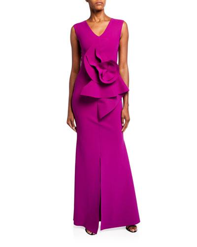 V-Neck Sleeveless 3D Floral Embellished Gown