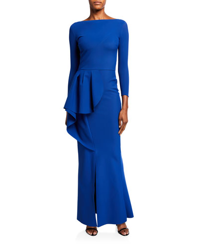 Boat-Neck Long-Sleeve Asymmetric Tulip Peplum Gown