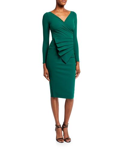 V-Neck Long-Sleeve Asymmetric Shirred Detail Dress