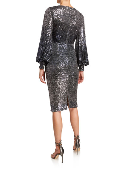 Ombre Sequin Poet-Sleeve Keyhole Neck Dress