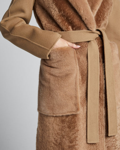 Multi-Fur Coat w/ Self-Tie Belt