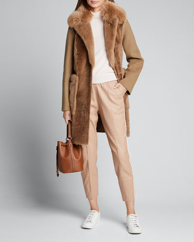 Multi-Fur Coat w/ Self-Tie Belt