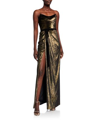 Strapless Foiled Velvet Column Gown