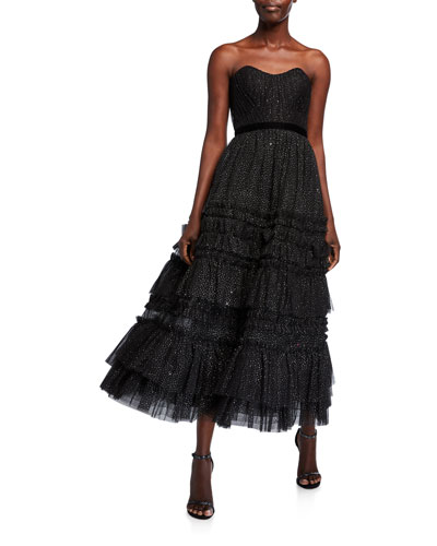 Strapless Glitter Tulle Textured A-Line Tea Length Gown