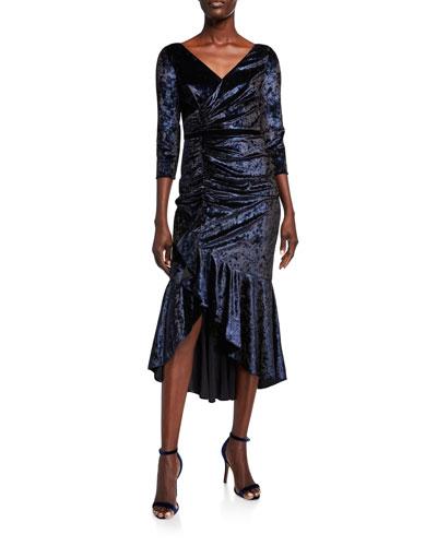 V-Neck 3/4-Sleeve Shirred Foiled Velvet High-Low Dress