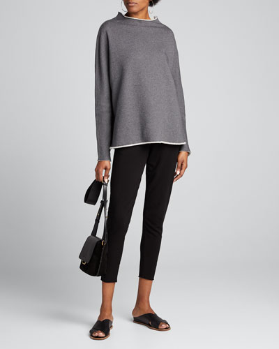 Funnel-Neck Cotton Fleece Sweatshirt