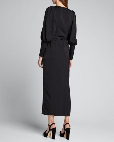 Aspen Blouson-Sleeve Wrap Dress
