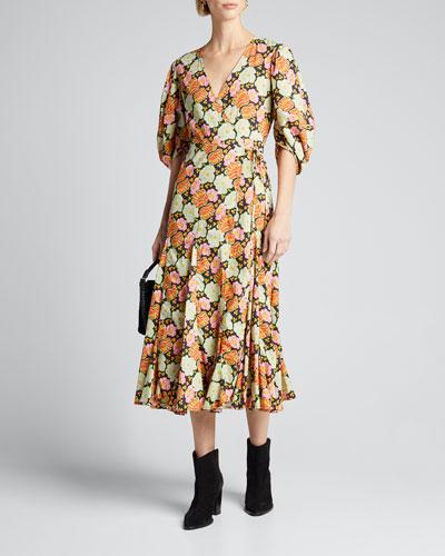 Fiona Floral-Print 3/4-Sleeve Wrap Dress