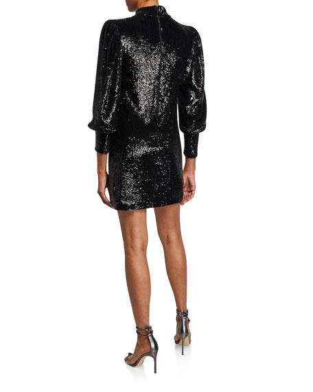 Christy Sequin Mock-Neck Blouson-Sleeve Mini Dress
