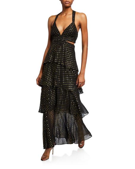 Lita Metallic Tiered Cocktail Dress