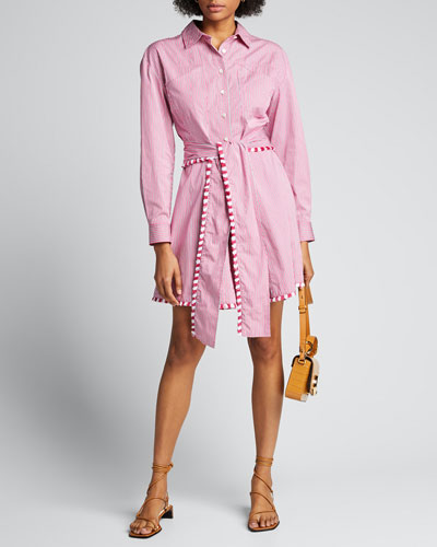 Iona Fray-Trimmed Belted Shirtdress