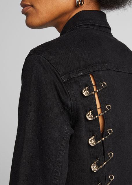 Aria Cropped Safety Pin Denim Jacket