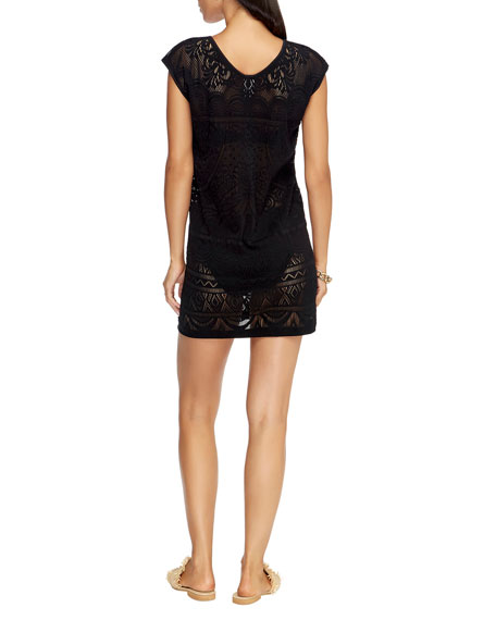 Lace Knit Coverup Shift Dress