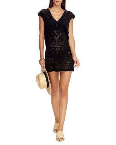 Lace Knit Coverup Shift Dress