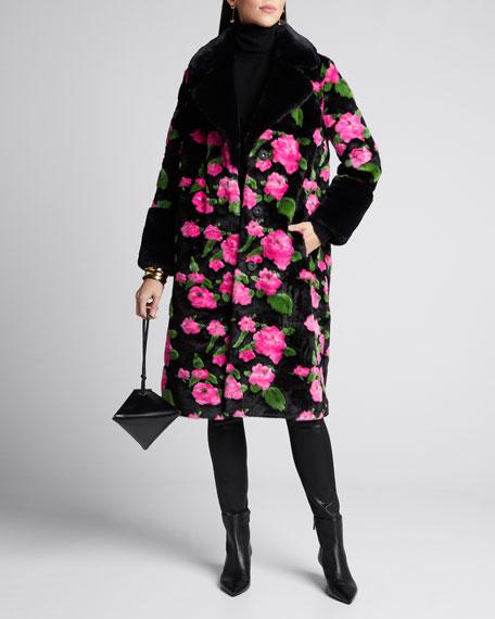 Liliana Long Floral Faux Fur Coat