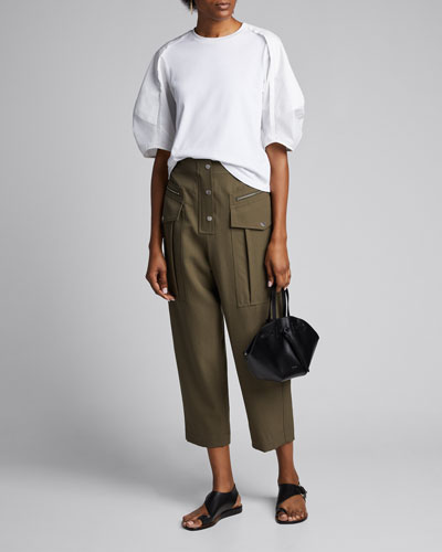 Cropped Wool Snap-Front Cargo Pants