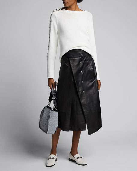 Image 1 of 1: Leather Trench Skirt