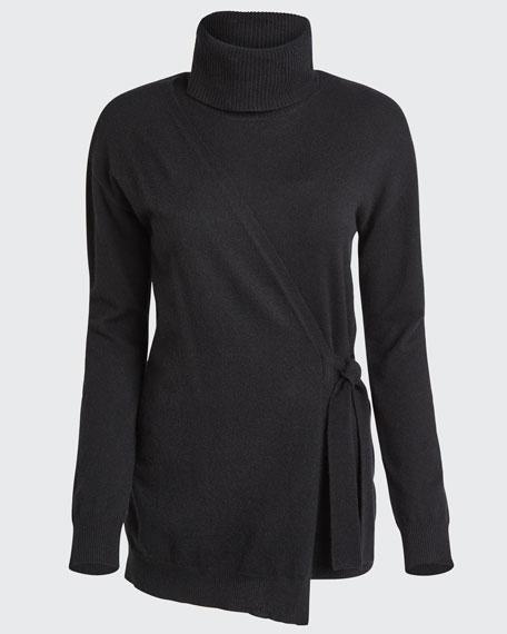 Pomona Faux-Wrap Turtleneck Sweater