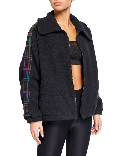 American Dream Fleece Jacket w/ Plaid Elastic Trim