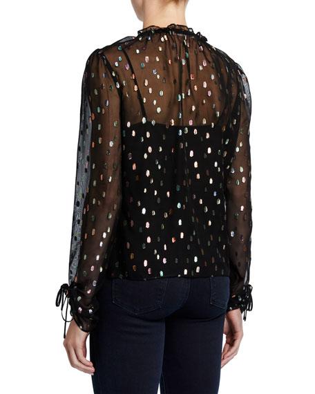 Lilian Metallic Long-Sleeve Top