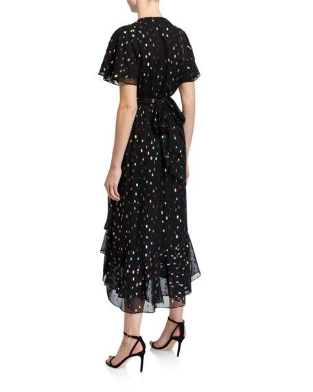 Berdina Metallic Flounce Wrap Dress