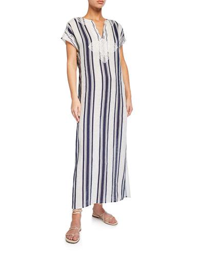 Awning Stripe Short-Sleeve Long Caftan