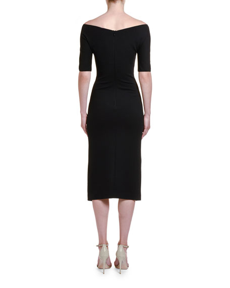 Ruched Jersey 1/2-Sleeve Dress