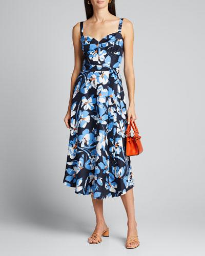Hibiscus Print Silk Twill Bustier Midi Dress