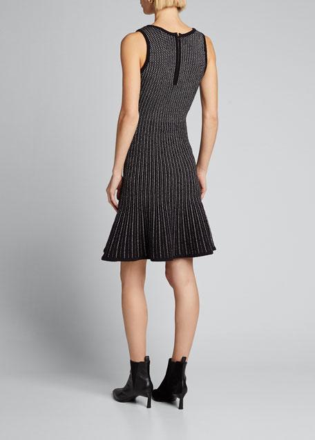 Tweed Sleeveless Fit & Flow Dress