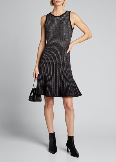 Tweed Sleeveless Fit & Flow Dress