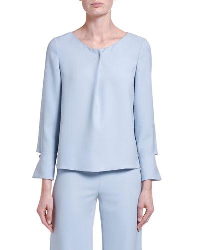 Silk-Chambray Draped-Front Tunic Blouse