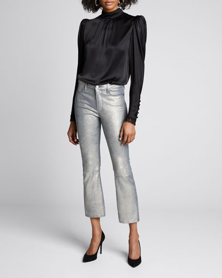 Image 1 of 1: Le Crop Mini Boot-Cut Metallic Leather Pants