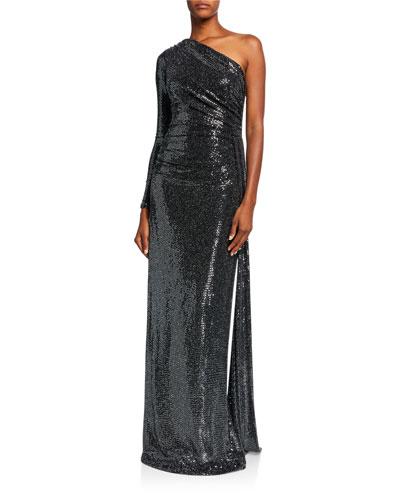 Metallic One Shoulder Side Drape Sequin Column Gown