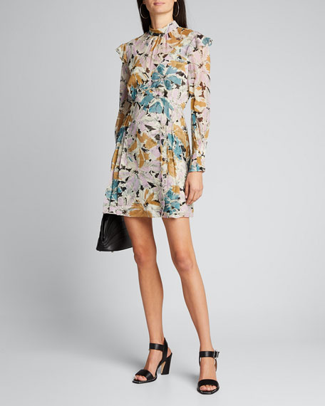 Image 1 of 1: Elinor Floral-Print High-Neck Dress