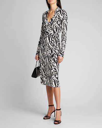 Power Printed Midi Wrap Dress