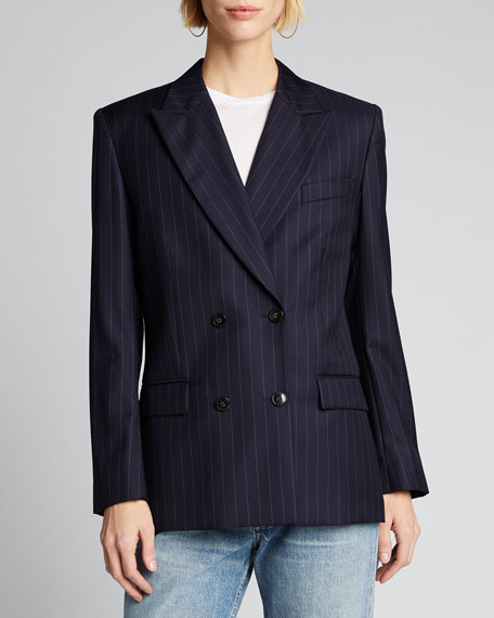70s Double-Breasted Pinstripe Blazer