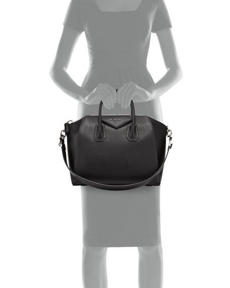 Antigona Medium Leather Satchel Bag, Black
