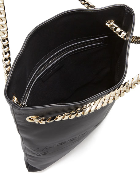 HDG Flat Large Lambskin Tote Bag, Black