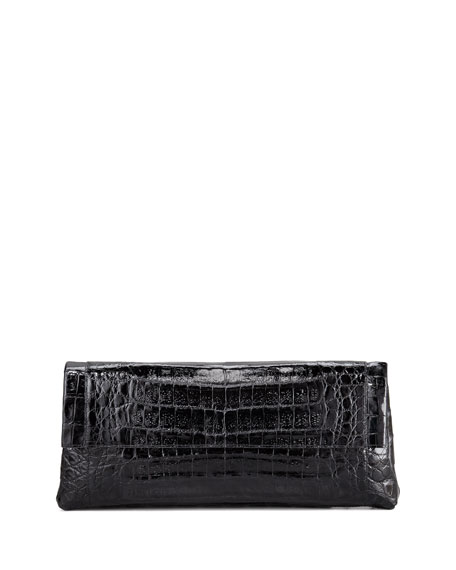 Crocodile Flap-Front Clutch Bag