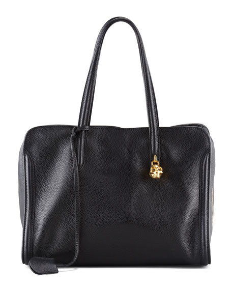 New Skull Padlock Zip-Around Tote Bag, Black