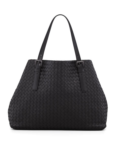 Large Double-Strap A-Shape Tote Bag, Black
