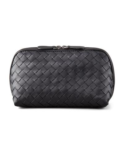 Woven Leather Medium Cosmetic Case  Black